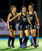 Kirsten Pearce, Kelsey Smith and Pippa Hayward of the Blacksticks during the international hockey match between the Blacksticks Women and India, Rosa Birch Park, Pukekohe, New Zealand. Tuesday 16  May 2017. Photo:Simon Watts / www.bwmedia.co.nz