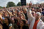 The crowd waving their arms to Michael Franti and Spearhead at the Electric Picnic 2008, Stradbally, Laois, Ireland. .