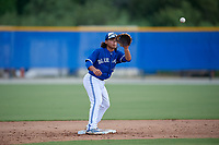 GCL Blue Jays second baseman Jose Rivas (3) during a Gulf Coast League game against the GCL Tigers West on August 3, 2019 at the Englebert Complex in Dunedin, Florida.  GCL Blue Jays defeated the GCL Tigers West 4-3.  (Mike Janes/Four Seam Images)