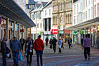 Pictured: Stepney Street in the centre of Llanelli. Wednesday 09 March 2018<br /> Re: The effect that the Scarlets RFC has had in the town of Llanelli in Carmarthenshire and the west Wales region.