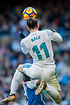 Gareth Bale of Real Madrid heads the ball during the La Liga 2017-18 match between Real Madrid and RC Deportivo La Coruna at Santiago Bernabeu Stadium on January 21 2018 in Madrid, Spain. Photo by Diego Gonzalez / Power Sport Images