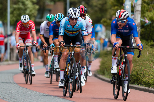 Yves Lampaert (BEL) and Elia Viviani (ITA) in action during the Elite Men's Road Race during the 2019 UEC European Road Championships, Alkmaar, The Netherlands, 11 August 2019.<br /> <br /> Photo by Thomas van Bracht / PelotonPhotos.com | All photos usage must carry mandatory copyright credit (Peloton Photos | Thomas van Bracht)