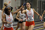 12 MAR 2011: Wartburg runners pass the baton during the 4x400 meter relay during the Division III Men's and Women's Indoor Track and Field Championships held at the Capital Center Fieldhouse on the Capital University campus in Columbus, OH.  Jay LaPrete/NCAA Photos