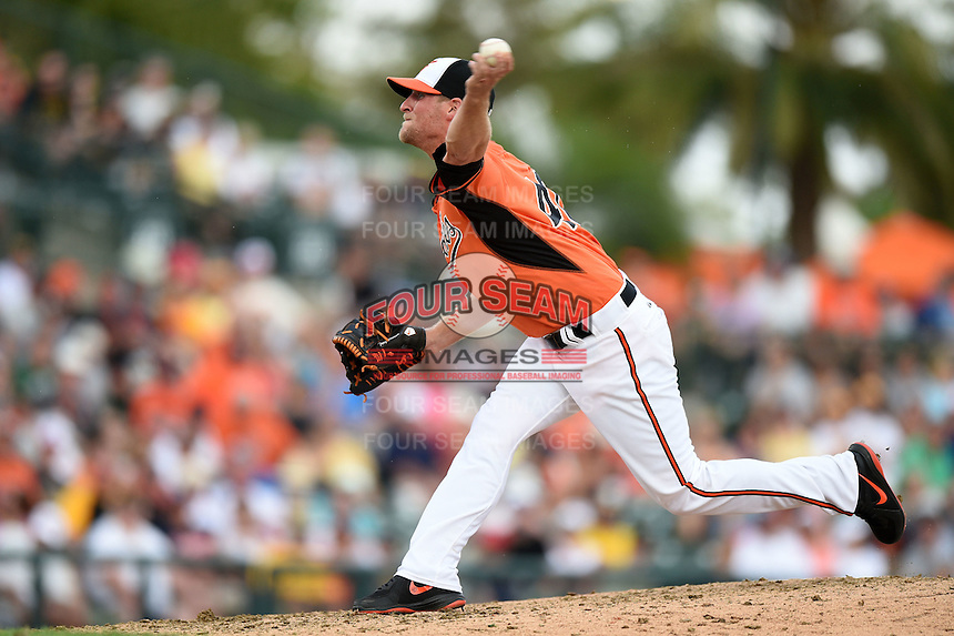 Baltimore Orioles pitcher Troy Patton (40) during a spring training game against the Pittsburgh Pirates on March 23, 2014 at Ed Smith Stadium in Sarasota, Florida.  Baltimore and Pittsburgh tied 7-7.  (Mike Janes/Four Seam Images)