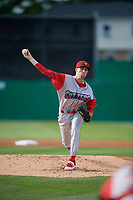 Williamsport Crosscutters starting pitcher Brett Schulze (31) during a NY-Penn League game against the Batavia Muckdogs on August 25, 2019 at Dwyer Stadium in Batavia, New York.  Williamsport defeated Batavia 10-3.  (Mike Janes/Four Seam Images)