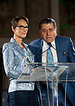 Chery and Haim Saban at the press confererence at The Academy Museum of Motion Pictures where they announced a 50 million dollar gift donation to the museum under construction in Los Angeles.