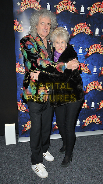 Brian May &amp; Anita Dobson attend the &quot;La Soiree&quot; VIP press night, La Soiree Spiegeltent, Southbank Centre, Belvedere Road, London, England, UK, on Friday 06 November 2015. <br /> CAP/CAN<br /> &copy;Can Nguyen/Capital Pictures