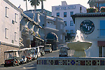 Golf carts used for basic transportation vehicles populate streets of Avalon, Catalina Island, California