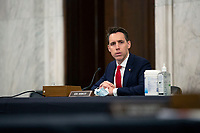 United States Senator Josh Hawley (Republican of Missouri) listens during a U.S. Senate Committee on Homeland Security and Governmental Affairs meeting in the Senate Russell Office Building in Washington D.C., U.S., on Wednesday, May 20, 2020, to consider a motion to issue a subpoena to Blue Star Strategies.  Credit: Stefani Reynolds / CNP/AdMedia