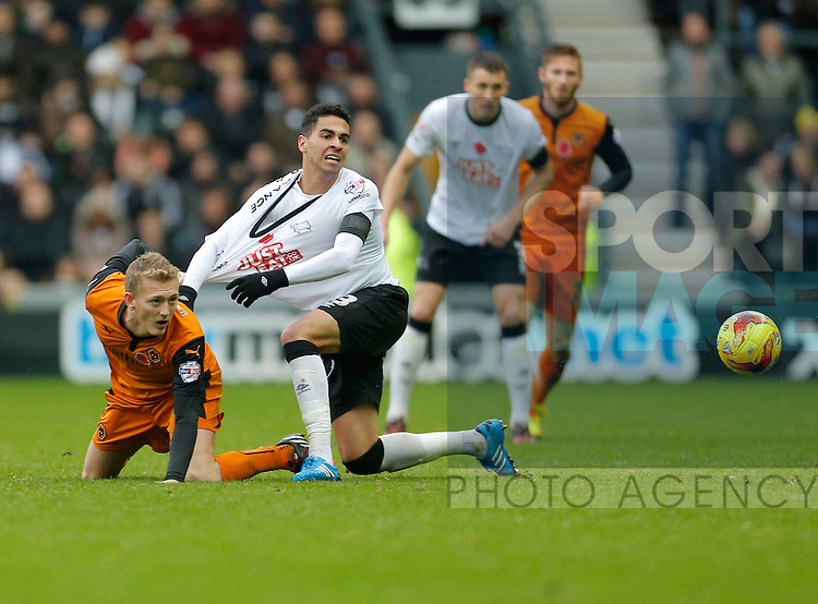 George Saville of Wolves holds Omar Mascarell of Derby - Football - Sky Bet Championship - Derby County vs Wolverhampton Wanderers - iPro Stadium Derby - Season 2014/15 - 8th November 2014 - Photo Malcolm Couzens/Sportimage