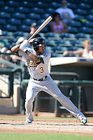 Mesa Solar Sox shortstop Addison Russell (3), of the Oakland Athletics organization, during an Arizona Fall League game against the Peoria Javelinas on October 16, 2013 at Surprise Stadium in Surprise, Arizona.  Mesa defeated Peoria 3-1.  (Mike Janes/Four Seam Images)