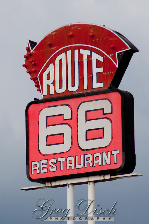 Sign for Route 66 Restaurant in Clinton Olahoma.