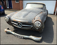 BNPS.co.uk (01202 558833)<br /> Pic: H&amp;H/BNPS<br /> <br /> A ramshackle Mercedes that has rusted away in a garage for the last 30 years has sold for &pound;60,000.<br /> <br /> After decades of decay the 1960 190 SL car was unearthed this year when an auctioneer stumbled upon it while valuing a selection of motorcycles. <br /> <br /> The dilapidated motor was found tucked away in a lockup in the West Midlands where it had languished untouched since the late 1980s. <br /> <br /> Despite its horrendous condition the car is worth the same as a brand new executive E-Class because of the booming market for classic cars in original condition.