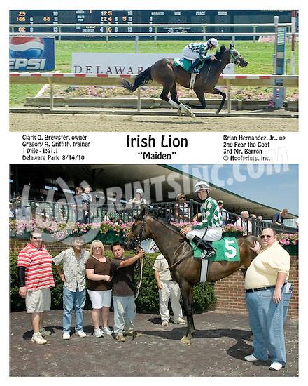 Irish Lion winning winning at Delaware Park on 8/14/10