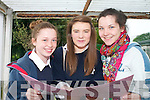 Michaela Pitman, Lauren McConnell and Cornelia Prendiville after completing English Paper 1, at Presentation Secondary, Tralee on Wednesday.