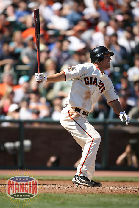 SAN FRANCISCO - APRIL 13:  John Bowker of the San Francisco Giants bats during the game against the St. Louis Cardinals at AT&T Park in San Francisco, California on April 13, 2008.  The Giants defeated the Cardinals 7-4.  Photo by Brad Mangin