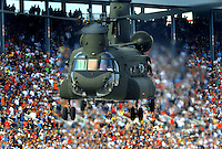 Nov. 8, 2009; Fort Worth, TX, USA; A chinook helicopter prior to the Dickies 500 at the Texas Motor Speedway. Mandatory Credit: Mark J. Rebilas-