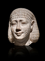 Ancient Egyptian statue bust of a male, graywacke,  Late Period, (722-322 BC), . Egyptian Museum, Turin. Grey background. Old Fund. Cat 3078.