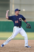 J.D. Davis (26) of the Lancaster JetHawks makes a throw during a game against the San Jose Giants at The Hanger on April 11, 2015 in Lancaster, California. San Jose defeated Lancaster, 8-3. (Larry Goren/Four Seam Images)