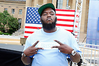 Freeway pictured at a press conference where Jay-Z will announce he will curate and headline Budweiser Made In America, a two day music festival in Philadelphia this Labor Day weekend to benefit United Way at the top of the Art Museum steps in Philadelphia, Pa on May 14, 2012 © Star Shooter / MediaPunch Inc.
