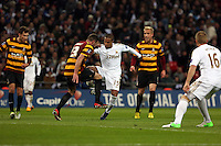 Pictured: (L-R) Rory McArdle, Wayne Routledge. Sunday 24 February 2013<br /> Re: Capital One Cup football final, Swansea v Bradford at the Wembley Stadium in London.