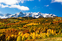 Autumn snow at Dallas Divide in Colorado's San Juan Mountains outside of Ridgeway.  <br />