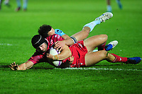 Leigh Halfpenny of Scarlets scores his sides sixth try during the European Rugby Challenge Cup Round 4 match between the Scarlets and Bayonne at the Parc Y Scarlets in Llanelli, Wales, UK. Saturday 14 December 2019