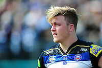 David Denton of Bath Rugby looks on during a break in play. Aviva Premiership match, between Bath Rugby and Sale Sharks on April 23, 2016 at the Recreation Ground in Bath, England. Photo by: Patrick Khachfe / Onside Images
