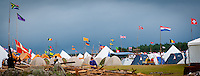 Flags waving over the autumn subcamp. Photo: André Jörg/ Scouterna