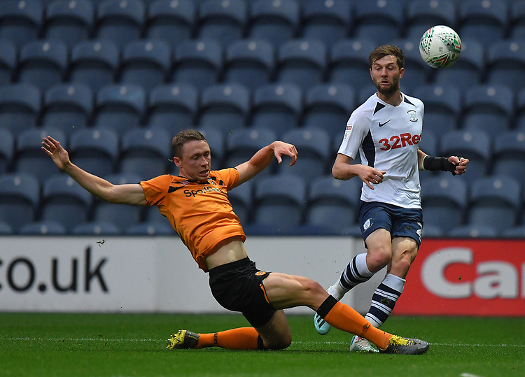 Preston North End's Tom Barkhuizen battles for the ball<br /> <br /> Photographer Dave Howarth/CameraSport<br /> <br /> The Carabao Cup Second Round - Preston North End v Hull City - Tuesday 27th August 2019  - Deepdale Stadium - Preston<br />  <br /> World Copyright © 2019 CameraSport. All rights reserved. 43 Linden Ave. Countesthorpe. Leicester. England. LE8 5PG - Tel: +44 (0) 116 277 4147 - admin@camerasport.com - www.camerasport.com