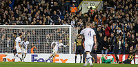 Tommy Carroll of Tottenham Hotspur turns to celebrate his goal during the UEFA Europa League group match between Tottenham Hotspur and Monaco at White Hart Lane, London, England on 10 December 2015. Photo by Andy Rowland.