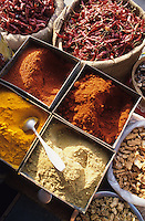 INDIA, Rajasthan, Jaipur, spices like chillies coriander ginger turmeric at market / INDIEN Rajasthan, Gewürze wie Chilly Chillipuder Gelbwurz Koriander auf Markt in Jaipur