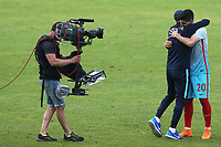 Harun Alpsoy of Turkey celebrates their 2-1 victory with their Head Coach at the final whistle during Portugal Under-19 vs Turkey Under-21, Tournoi Maurice Revello Football at Stade Parsemain on 3rd June 2018