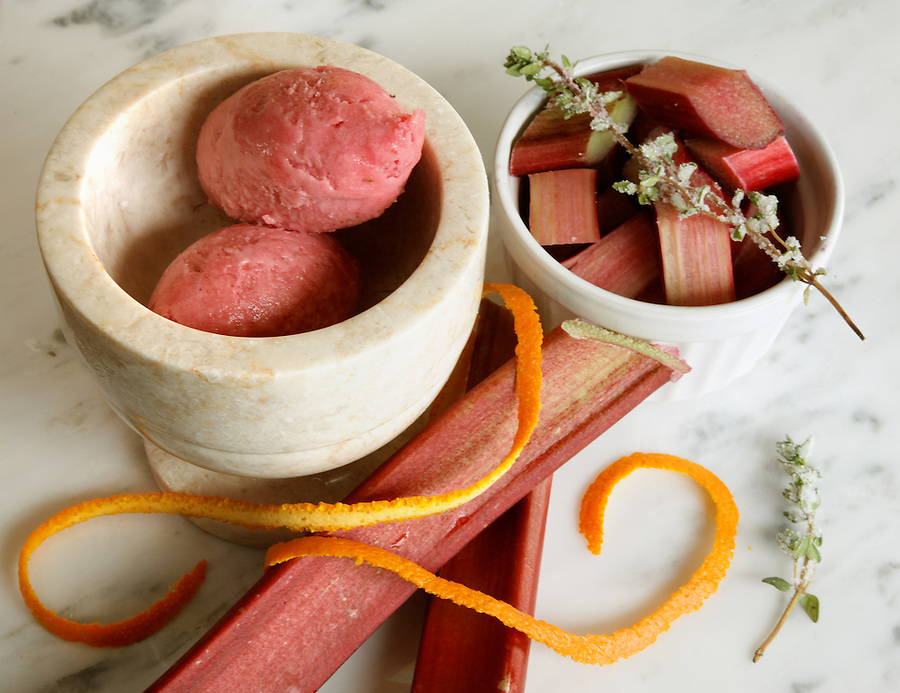 Rhubarb sorbet, by pastry chef Laurie Pfalzer, Pastry Craft