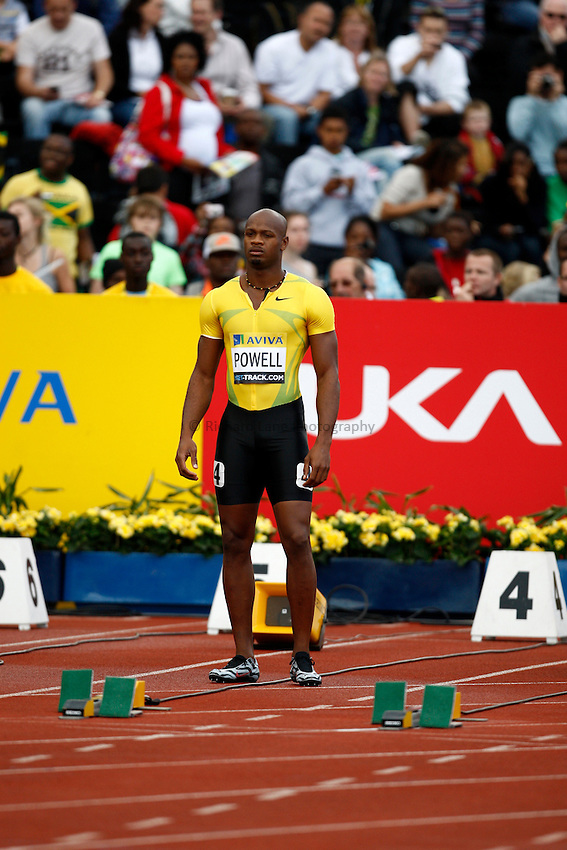 Photo: Richard Lane/Richard Lane Photography..Aviva London Grand Prix. 24/07/2009. Jamaica's Asafa Powell before a men's 100m heat.