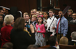 The Mark Twain Elementary School choir sings before Nevada Gov. Steve Sisolak delivers his State of the State address to the Legislature in Carson City, Nev., on Wednesday, Jan. 16, 2019. (Cathleen Allison/Las Vegas Review-Journal)
