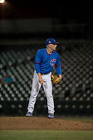 AZL Cubs relief pitcher Riley McCauley (64) looks to his catcher for the sign during an Arizona League game against the AZL Brewers at Sloan Park on June 29, 2018 in Mesa, Arizona. The AZL Cubs 1 defeated the AZL Brewers 7-1. (Zachary Lucy/Four Seam Images)