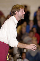 Chris Horpel shouts instructions against SFSU during Stanford's meet in San Francisco on November 14, 2001.
