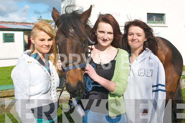 HORSING AROUND: Enjoying a great time at the North Kerry Harriers point to point at the Ballybeggan racecourse, Tralee on Sunday l-r: Fiona Walz, Lixnaw, Hillary Costello, Ballybunion and Stacey Meaney, Listowel.