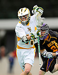 10 April 2011: University of Vermont Catamount attacker/midfielder Garrett Virtue, a Sophomore from Rye, NY, in action against the University at Albany Great Danes on Moulton Winder Field in Burlington, Vermont. The Catamounts defeated the visiting Danes 11-6 in America East play. Mandatory Credit: Ed Wolfstein Photo