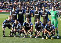 Earthquakes Starting XI pose together for group photo before the game against Red Bull at Buck Shaw Stadium in Santa Clara, California.  San Jose Earthquakes defeated New York Red Bulls, 4-0.