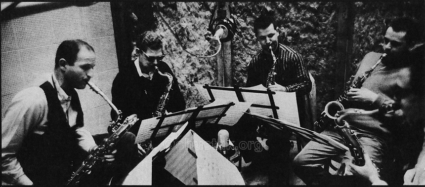The sax section: Sol Schlinger, Zoot Sims, Gene Quill, Phil Woods, Al Cohn.
