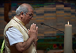 Pandit Haridatt Koendan shares a Hindu prayer during a July 23 interfaith prayer and memorial service in the Keizersgrachtkerk in Amsterdam, the Netherlands. Sponsored by the World Council of Churches-Ecumenical Advocacy Alliance, the service was held on the first day of the 2018 International AIDS Conference.