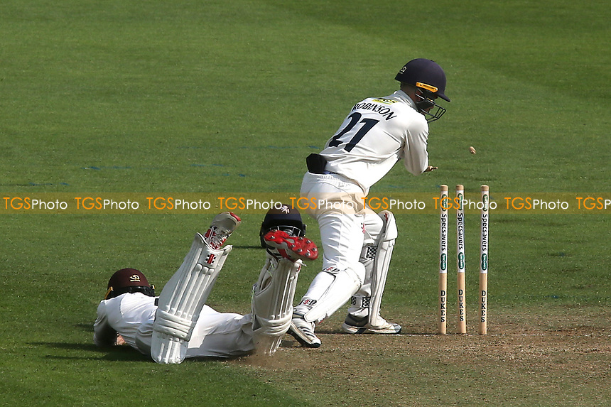 Kent wicketkeeper, Ollie Robinson whips off the bails, but Ben Foakes was given not out after a desperate dive to make his ground during Surrey CCC vs Kent CCC, Specsavers County Championship Division 1 Cricket at the Kia Oval on 7th July 2019