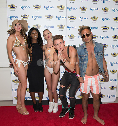 LAS VEGAS, NV - March 26, 2016: ***HOUSE COVERAGE*** Raquel Leviss, Faith Stowers, LaLa Kent, James Kennedy and Jesse Montana  pictured arriving as LaLa Kent and James Kennedy of Vandrpump Rules host at REHAB Pool Party at Hard Rock Hotel & Casino in Las vegas, NV on March 26, 2016. Credit: Erik Kabik Photography/ MediaPunch
