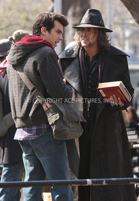 WWW.ACEPIXS.COM..April 02 2009, New York City..Actors Jay Baruchel (L) and Nicholas Cage (R) film on the set of the 2010 movie, 'The Sorcerer's Apprentice' on April 2, 2009 in New York City...Please byline: AJ Sokalner - ACEPIXS.COM...*** ***...Ace Pictures, Inc.tel: (212) 243 8787.e-mail: info@acepixs.com.web: http://www.acepixs.com..Copyright © 2009 AJ Sokalner/ACE Pictures.