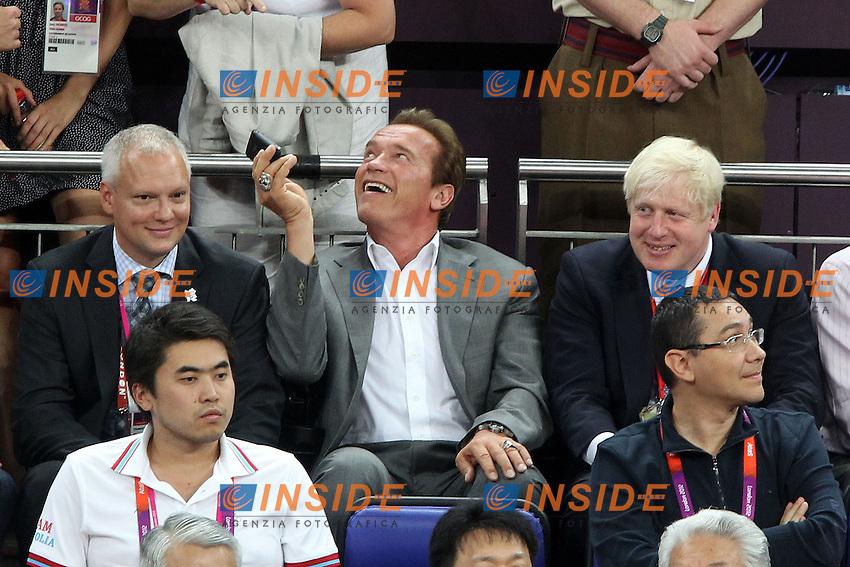 Arnold Schwarzenegger, Boris Johnson in tribuna.Londra 12/08/2012 North Greenwich Arena.London 2012 Olympic Games Men Football Tournament.Olimpiadi Londra 2012 Pallacanestro Maschile.Finale USA v Spagna.Foto Insidefoto Paolo Nucci.