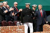 United States President George W. Bush shakes hands with the out-going Chairman of the Joint Chiefs of Staff, US Marine Corps General Peter Pace as he participates in an Armed Forces Change of Command ceremony and official Hail and Farewell tribute in honor for Pace and in-coming Chairman of the Joint Chiefs of Staff US Navy Admiral Michael Mullen at Fort Myer, Virginia on October 1, 2007.<br /> Credit: Aude Guerrucci / Pool via CNP