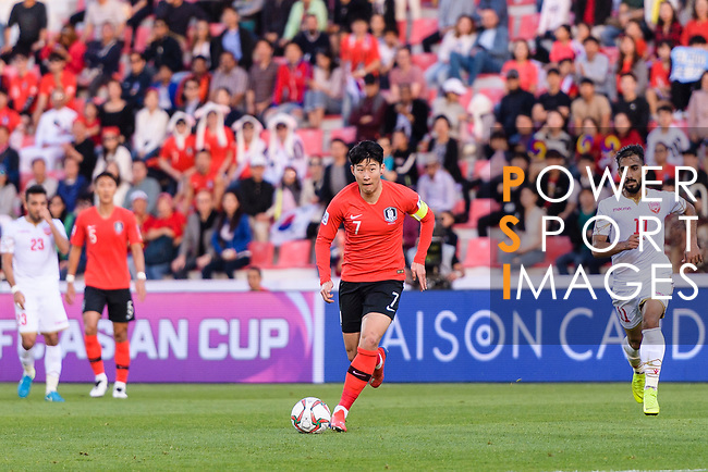 Son Heungmin of South Korea in action during the AFC Asian Cup UAE 2019 Round of 16 match between South Korea (KOR) and Bahrain (BHR) at Rashid Stadium on 22 January 2019 in Dubai, United Arab Emirates. Photo by Marcio Rodrigo Machado / Power Sport Images