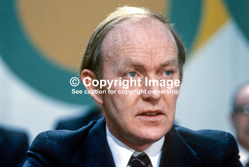 Michael O'Kennedy, Fianna Fail, TD, Minister, Rep of Ireland, 198002000039a..Copyright Image from Victor Patterson, 54 Dorchester Park, Belfast, UK, BT9 6RJ..Tel: +44 28 9066 1296.Mob: +44 7802 353836.Voicemail +44 20 8816 7153.Skype: victorpattersonbelfast.Email: victorpatterson@mac.com.Email: victorpatterson@ireland.com (back-up)..IMPORTANT: If you wish to use this image or any other of my images please go to www.victorpatterson.com and click on the Terms & Conditions. Then contact me by email or phone with the reference number(s) of the image(s) concerned.